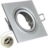 Inbouw spot GU10 - aluminium - vierkant armatuur - mat - zilver/zilver 92mm
