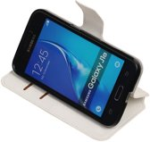 Wit Samsung Galaxy J1 2016 TPU wallet case booktype hoesje HM Book