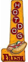 Signs-USA Fresh Hot Dogs - Retro Wandbord - Metaal - 59x25 cm