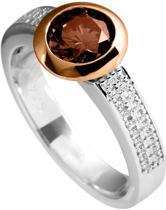 Diamonfire - Zilveren ring met steen Maat 18.5 - Ros'goudverguld - Bruine steen