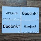 Bedankkaarten A6 - bedankkaartjes - ansichtkaarten - wenskaarten - set van 4