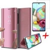 Samsung Galaxy A71 Hoesje - Book Case Wallet Spiegel Case + Screenprotector - Roségoud
