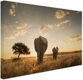 FotoCadeau.nl - Olifant en kalf savanne Canvas 30x20 cm - Foto print op Canvas schilderij (Wanddecoratie)