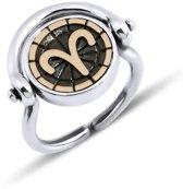 Biggdesign Aries Zodiac zilveren ring voor dames | Bronzen detail | Zirkonia steen | Horoscoop sieraden op maat | Verjaardagscadeau | Dubbelzijdige ring | Speciaal ontwerp | 925 sterling zilver