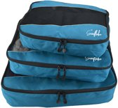 Packing Cubes Set (3x) - Koffer Organiser Voor Backpack & Koffer - Travel - Blauw