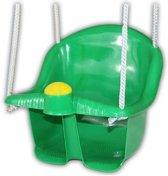 Groene peuterschommel met touw