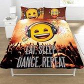 Emoji Eat Sleep Dance Repeat - Dekbedovertrek - Tweepersoons - 200 x 200 cm - Multi