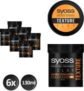 SYOSS Texture Clay 130 ml - 6 stuks - Voordeelverpakking