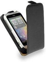 HTC Wildfire S Leder Flip Case hoesje Zwart