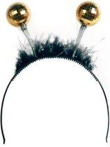 Tiara zwart bont met gouden discoballen