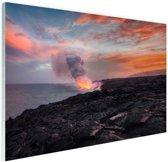Lava vulkaan bij de oceaan Glas 30x20 cm - klein - Foto print op Glas (Plexiglas wanddecoratie)