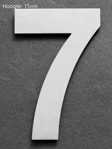 Huisnummer 15 cm  RVS  Hoogte 15cm  Nummer 7