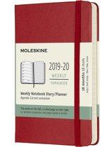 Moleskine 18 maanden agenda 2019-2020 - Wekelijks - Pocket (9x14 cm) - Rood - Harde kaft