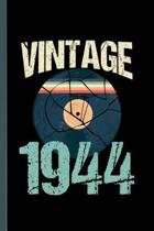 Vintage 1944: Retro Vintage 1944 75th Birthday Record Vinyl Vintage Disco Bday Gift (6''x9'') Lined notebook Journal to write in