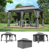 Trend24 - Paviljoen antraciet inclusief wanden 400 x 300 cm