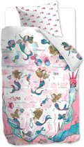 Beddinghouse Kids Mermaids Dekbedovertrek - roze 140x200/220