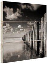 Stormachtig weer zwart-wit  Hout 30x20 cm - Foto print op Hout (Wanddecoratie)
