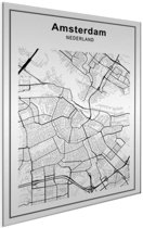 Stadskaart - Amsterdam Aluminium wit 60x80 cm - Plattegrond
