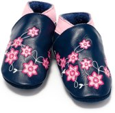 Baby Dutch babyslofjes marine roze bloemen