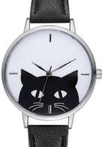 Horloge- Dames en Tieners- Zwart- Poes- Gratis batterij- 38 mm