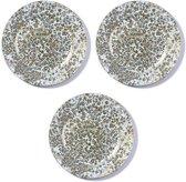 3x Ronde witte/gouden kaarsenplateaus/kaarsenborden met vintage patroon 33 cm - onderborden / kaarsenborden / onderzet borden voor kaarsen