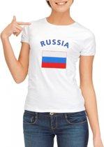 Wit dames t-shirt met vlag van Rusland Xl