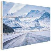 Besneeuwde bergen Hout 30x20 cm - klein - Foto print op Hout (Wanddecoratie)