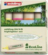 14x Edding Markeerstift Ecoline e-24 etui van 4 stuks in geassorteerde kleuren