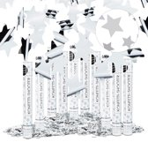 relaxdays 10x party popper 40 cm ster - confettishooter voor oudejaarsavond zilver