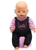90fbf58cb66c39 Boxpakje voor baby pop - tuinbroek met paddestoelen en gestreept shirt.  Poppenkleding voor Baby Born