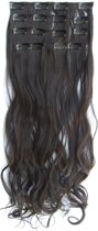 Clip in hairextensions 7 set wavy bruin - 2#