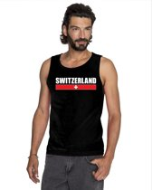 Zwart Switzerland supporter mouwloos shirt heren - Zwitserland singlet shirt/ tanktop L