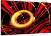 Canvas schilderij Abstract   Goud, Rood, Zwart   140x90cm 1Luik