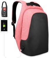 Tigernu Ladies - Professionele laptop rugzak - anti diefstal usb - 12,5 tot 15,6 inch - zwart roze