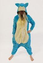 KIMU Onesie Snorlax Pokemon kinder pak kostuum - maat 128-134 - Snorlaxpak jumpsuit pyjama festival