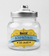 Glazen Snoeppot-Hoera Abraham 50 Jaar
