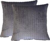 Kussen Fluweel grijs 50x50 cm Set van 2 Sierkussens
