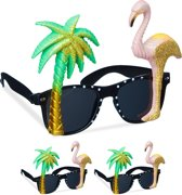 relaxdays 3 x party bril - flamingo - palmboom - feestbril - glitters – carnaval