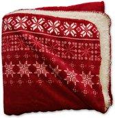 Unique Living Snowflake - Fleece - Plaid - 130x160 cm - Rood