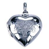 Zilveren Foto medaillon hart levensboom ketting hanger - 2 foto's