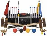 Meester Croquet set, 4 persoons, 16 mm stalen poorten, kunststof ballen, club-kwaliteit-met Trolley