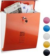 relaxdays brievenbus modern verschillende kleuren, A4-formaat, staal wandmontage geel