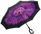Powerplu - Binnenstebuiten Paraplu – Purple Flower