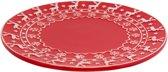 Clayre & Eef Kerstbord Ø 21 cm - wit/rood