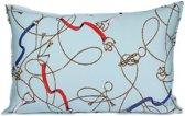 Sierkussen - Layton - Paarden riemen, bitten en kettingen - 40x60 cm – babyblauw