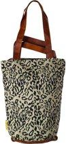 Mycha Ibiza – leopard tas - shopper - tas met rits - olijfgroen – Ibiza – 100% katoen