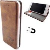 Apple iPhone X/XS - Bronzed Brown Ultra Dun Portemonnee Hoesje - Lederen Wallet Case TPU - Book Case - Flip Cover - Boek - 360º beschermend Telefoonhoesje