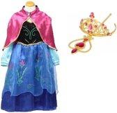 Prinses Anna roze jurk maat 128/134 cape, staf, kroon - verkleedkleding (labelmaat 140)