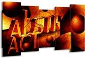 Canvas schilderij Abstract | Oranje, Geel | 150x80cm 5Luik