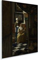 De liefdesbrief - Schilderij van Johannes Vermeer Plexiglas 60x80 cm - Foto print op Glas (Plexiglas wanddecoratie)